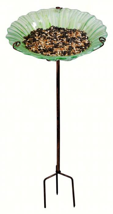 Regal Art & Gift White Bird Bath / Bird Feeder with Stake