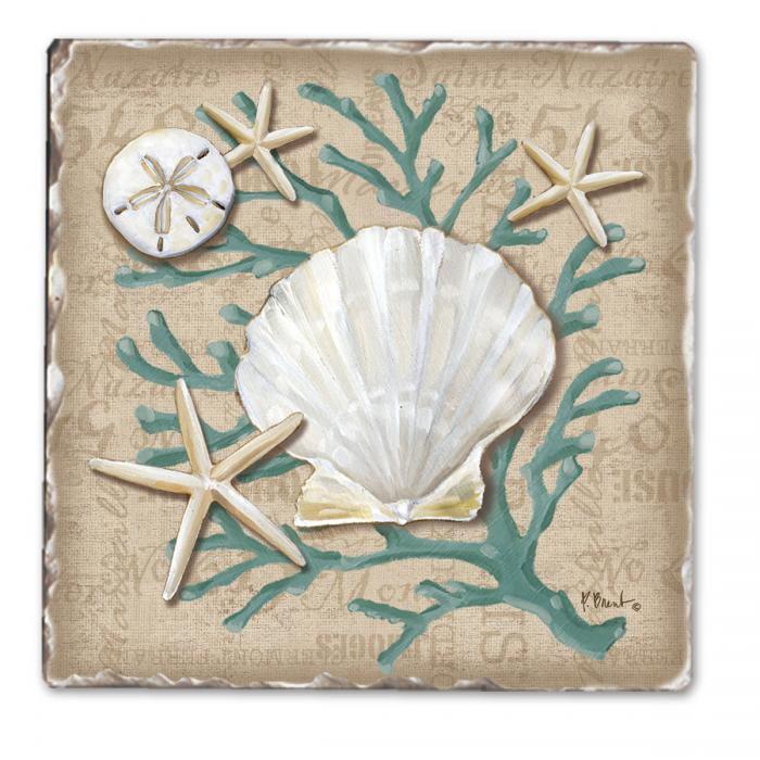 Counter Art Linen Shells Single Tumble Tile Coaster