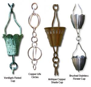 Patina Products Antique Copper Shade Cup Rain Chain