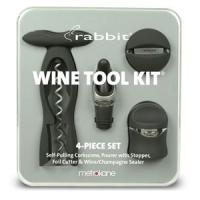 Metrokane Rabbit 4-Piece Wine Tool Kit  - Velvet Black