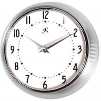 Infinity Retro Round Metal Wall Clock - Silver