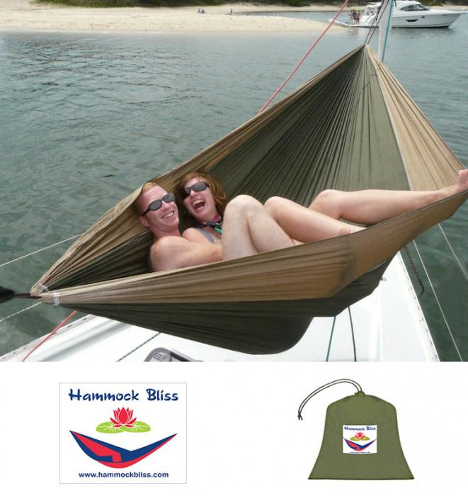Hammock Bliss Double Hammock, Tan/Green