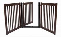 Walk Through 3 Panel Free Standing Pet Gate - Mahogany