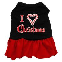 I Love Christmas Dog Dress - Black with Red/Medium