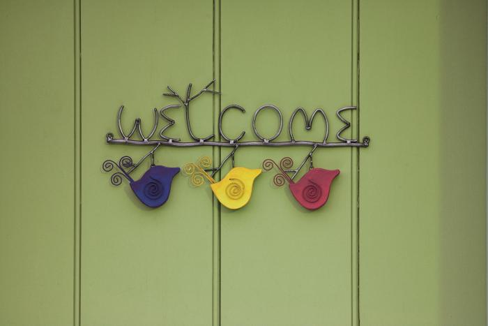 Ancient Graffiti Hanging Wire Birds Welcome Sign