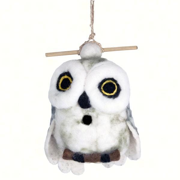 DZI Handmade Designs Snowy Owl Felt Birdhouse