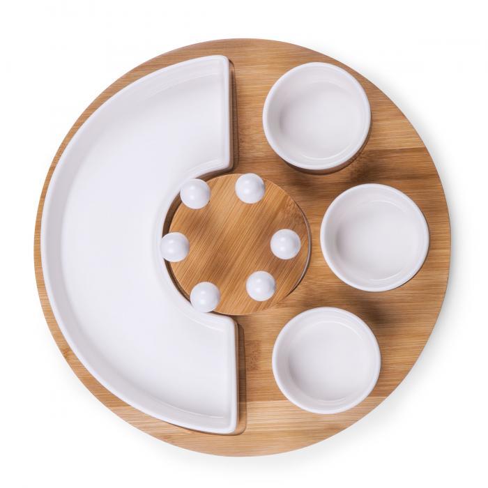 Picnic Time Symphony Appetizer Serving Set (White/ Bamboo)
