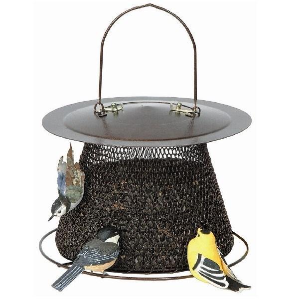No-No Bronze Mesh Birdfeeder with Roof