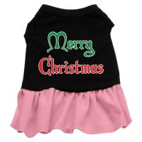 Merry Christmas Dog Dress - Black with Pink/XXX Large
