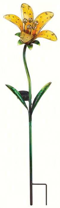 Regal Art & Gift Solar Tiger Lily Stake, Yellow