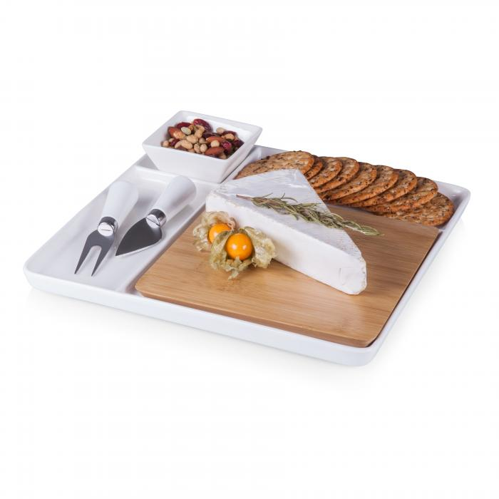 Picnic Time Peninsula Cutting Board Serving Tray with Cheese Tools (White/ Bamboo)
