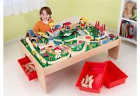 KidKraft Waterfall Train Table with 3Bins & 120 Pc Set