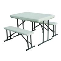 """Stansport Folding Table With Bench Seats - White - 44"""" X 26"""" X 28"""""""