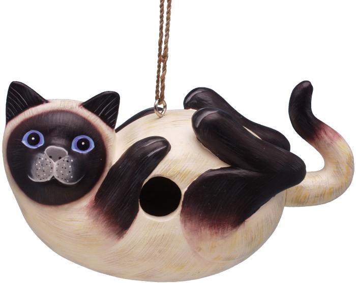 Songbird Essentials Siamese Cat on Back Birdhouse