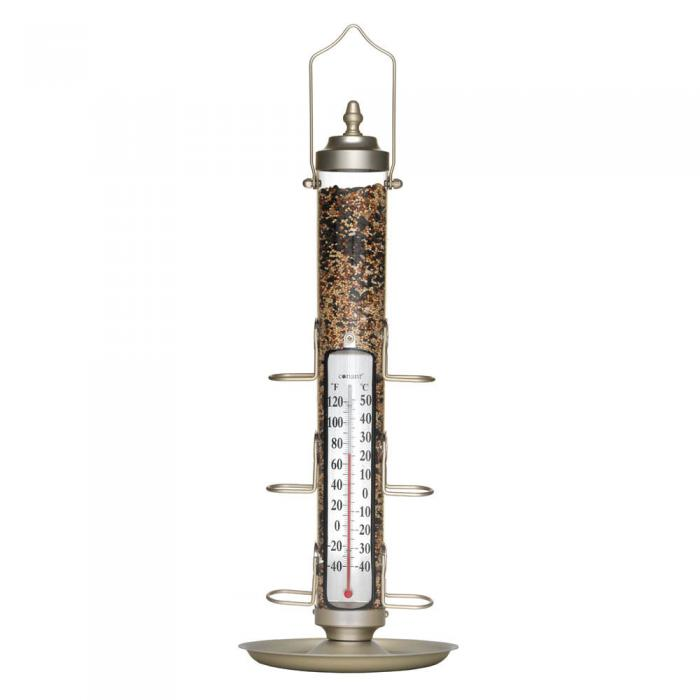 "Conant Custom Brass 24"" Bird Feeder Thermometer with Tray, Satin Nickel"