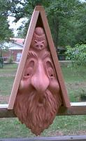 Creative Carvings by Monte Western Red Cedar Bird House, Mountain Man