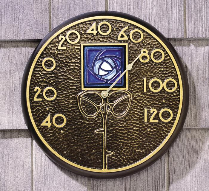 Whitehall Blue Dard Hunter Rose in French Bronze - Thermometer