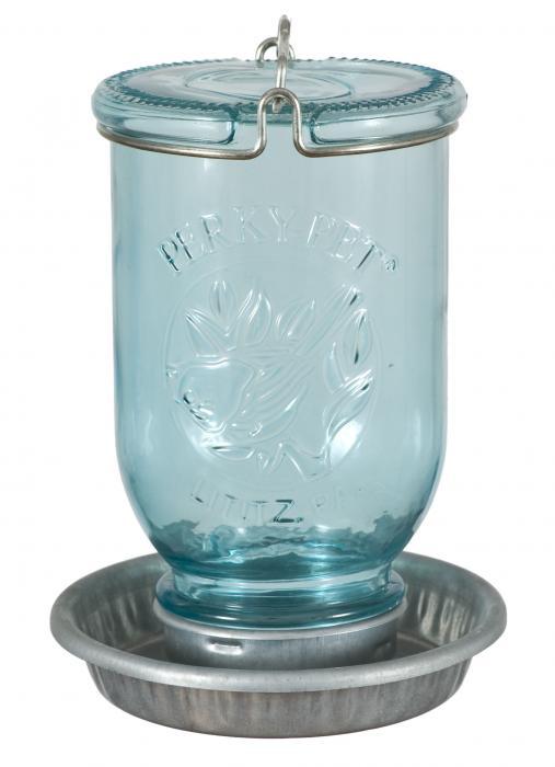 Perky Pet Antique Wide Blue Glass Waterer