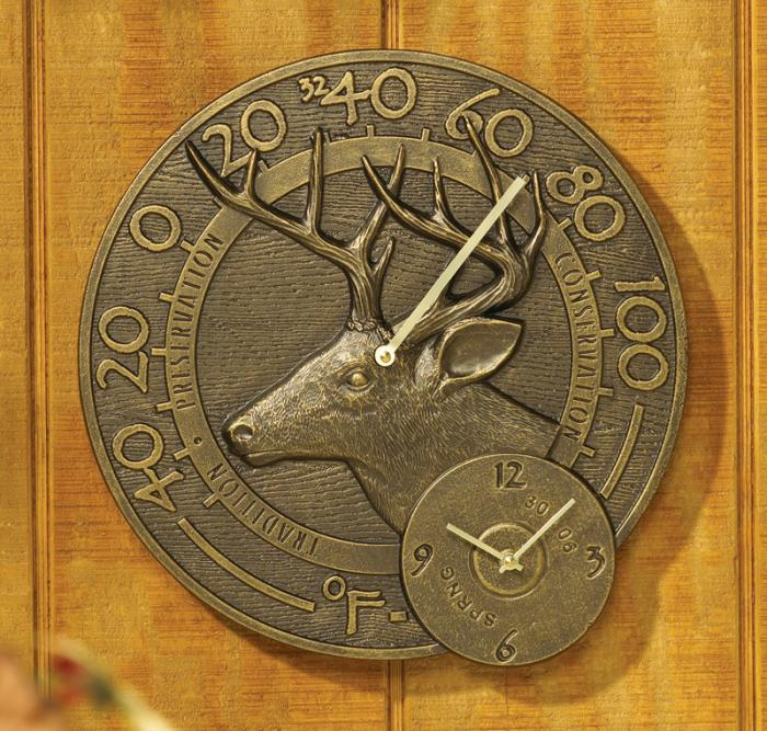 Whitetail Thermometer Clock - French Bronze