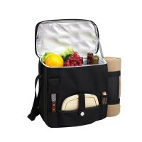 Picnic at Ascot Wine and Cheese Picnic Basket/Cooler with Accessories and Fleece Blanket - Black