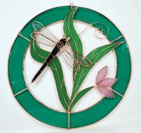 Gift Essentials Small Dragonfly Blue Circle Frame Window Panel