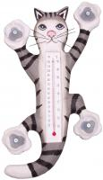 Songbird Essentials Climbing Grey Tabby Cat Small Window Thermometer