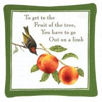 Alice's Cottage Bird with Peaches Single Mug Mat 5 x 5