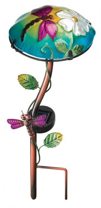 Regal Art & Gift Solar Mushroom Stake Dragonfly