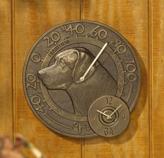 Whitehall Labrador Thermometer Clock - French Bronze