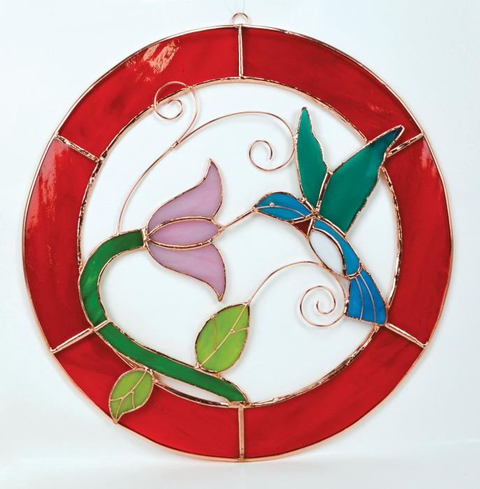 Gift Essentials Large Hummingbird Red Frame Circle Window Panel