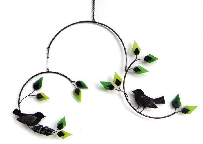 Blue HandWorks Forest Birds Metal and Glass Mobile