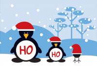 Tree Free Greetings Ho Ho Ho Penguins Christmas