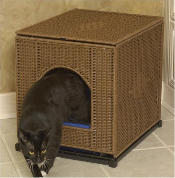 Jumbo Dark Brown Wicker Litter Box Cover