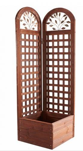 Merry products wood trellis screen planter system for Trellis planter garden screen