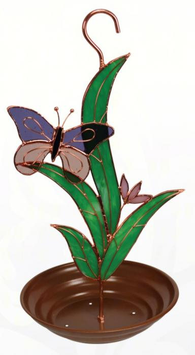 Gift Essentials Purple Butterfly with Leaves Bird Feeder