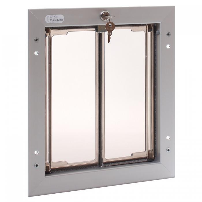PlexiDor Medium Exterior Door Application Performance Pet Door, Silver
