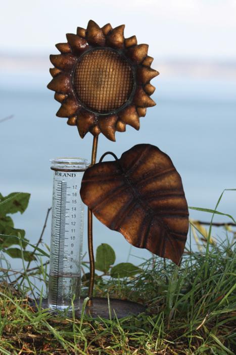 Toland Sunflower Tabletop Rain Gauge