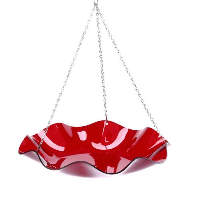 Bird's Choice Hanging Acrylic Bird Bath-Red