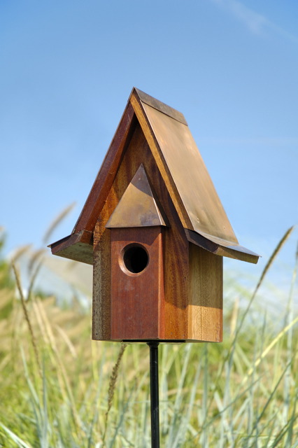 Beautiful Heartwood Mahogany Chateau Birdhouse With Burnished Copper Roof