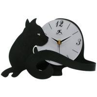 Metal Black Cat Tail Table Clock