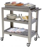 BroilKing Family Size 3-Pan Buffet Warming Cart with Clear Individual Lids