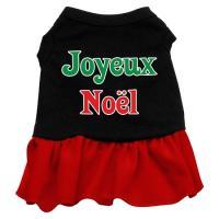 Joyeux Noel Dog Dress - Black with Red/Large