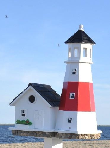 Home Bazaar Montauk Point Lighthouse Birdhouse (White With Red Stripes)