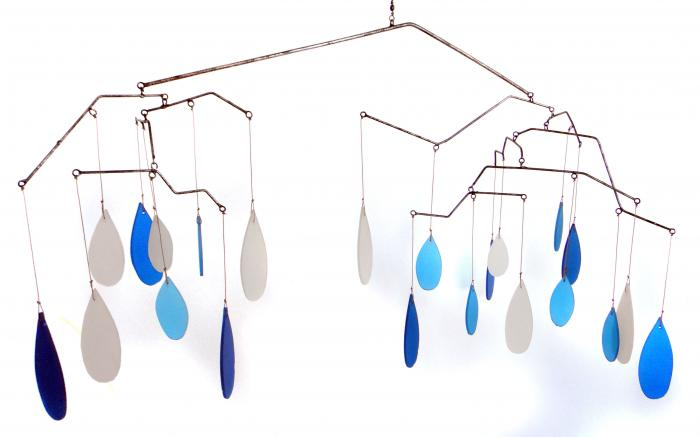 Blue HandWorks Glass Raindrops Mobile