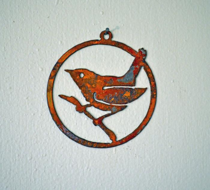 Elegant Garden Design Wren on a Branch Ornament