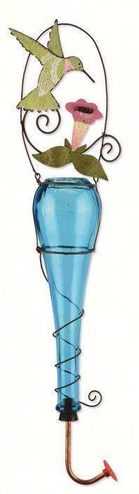 Sunset Vista Designs Hummingbird Hummingbird Feeder - blue bottle