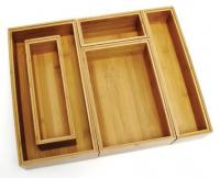 Lipper Bamboo Drawer Organizer Adjustable 5 Piece Set