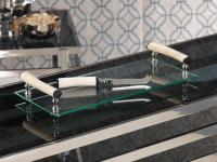 Zodax Barclay Butera Casablanca Collection Rectangular Glass Cheese Tray with White Bone Handles and Knife