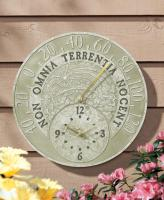 Whitehall Fossil Celestial Thermometer Clock - Moss Green