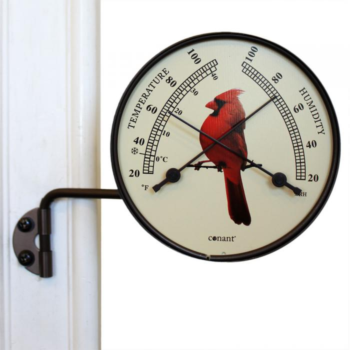 Conant Custom Brass Comfortmeter with Cardinal Bird Dial Bronze Patina Finish